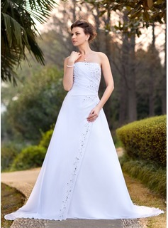 A-Line/Princess Strapless Chapel Train Chiffon Wedding Dress With Ruffle Beading Sequins