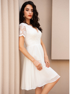 flowy calf length wedding dress