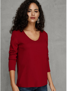 Solid Polyester round Neck Pull over Gensere