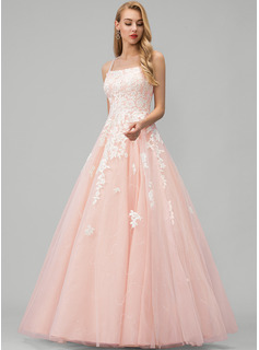 Ball-Gown/Princess Square Neckline Floor-Length Tulle Prom Dresses With Lace Sequins