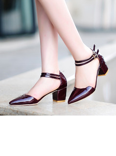 Women's Patent Leather Chunky Heel Closed Toe Pumps Sandals With Buckle