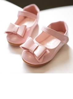Girl's Round Toe Closed Toe Leatherette Flat Heel Flats Flower Girl Shoes With Bowknot Velcro