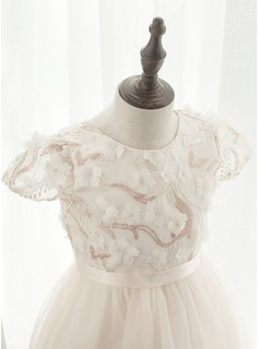 A-Line Ankle-length Flower Girl Dress - Tulle/Lace Short Sleeves Scoop Neck With Flower(s)