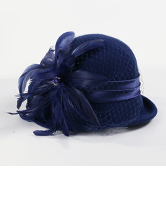 Ladies' Glamourous Wool/Net Yarn With Feather Bowler/Cloche Hat/Kentucky Derby Hats