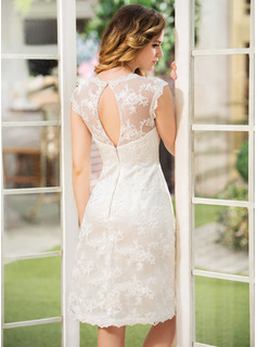 Scoop Neck Knee-Length Lace Wedding Dress