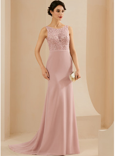 Trumpet/Mermaid Scoop Neck Sweep Train Chiffon Evening Dress With Lace