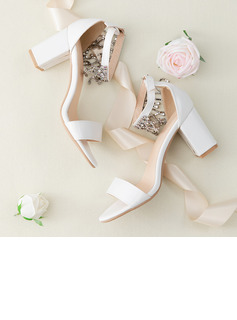 Women's Leatherette Chunky Heel Peep Toe Platform Sandals With Buckle Imitation Pearl Rhinestone Sparkling Glitter Pearl