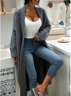 Chunky knit Solid Polyester Cardigans Sweaters
