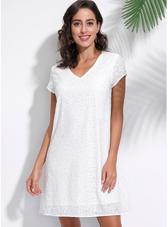 Lace With Lace/Solid Above Knee Dress