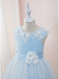 Ball-Gown/Princess Ankle-length Flower Girl Dress - Satin/Tulle/Lace Sleeveless Scoop Neck With Beading/Flower(s)