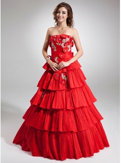 Ball-Gown Strapless Floor-Length Taffeta Quinceanera Dress With Beading Appliques Lace Flower(s) Cascading Ruffles Pleated