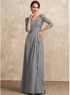 Scoop Neck Floor-Length Chiffon Lace Mother of the Bride Dress With Beading Sequins Cascading Ruffles