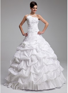 db06947cfbe ... Ball-Gown One-Shoulder Floor-Length Taffeta Quinceanera Dress With  Ruffle Beading Appliques ...
