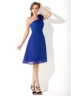 A-Line/Princess One-Shoulder Knee-Length Chiffon Bridesmaid Dress With Ruffle Flower(s)