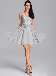 A-Line V-neck Short/Mini Chiffon Cocktail Dress With Sequins