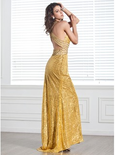 Trumpet/Mermaid V-neck Sweep Train Chiffon Sequined Holiday Dress With Beading Split Front