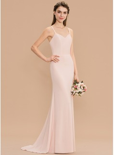 Trumpet/Mermaid Sweetheart Sweep Train Jersey Bridesmaid Dress