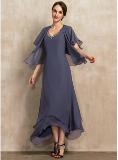 A-Line V-neck Ankle-Length Chiffon Mother of the Bride Dress With Beading