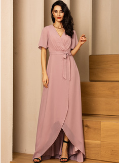 V-Neck Short Sleeves Asymmetrical Dresses