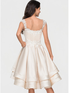 A-Line Sweetheart Asymmetrical Satin Homecoming Dress With Lace Beading Cascading Ruffles