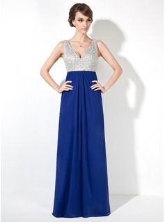 A-Line/Princess V-neck Floor-Length Chiffon Prom Dress With Beading Sequins Split Front