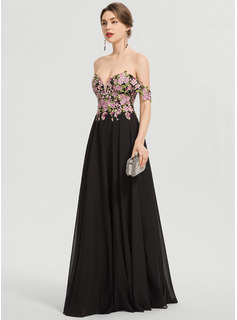 A-Linie Off-the-Schulter Bodenlang Chiffon Abiballkleid
