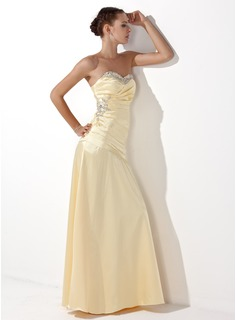 A-Line/Princess Sweetheart Floor-Length Charmeuse Prom Dresses With Ruffle Beading Sequins