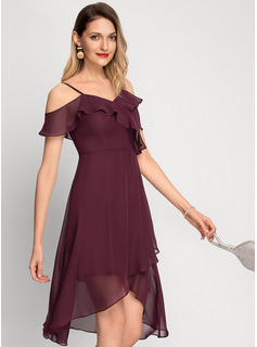 Off-shoulder Asymmetrisk Chiffong Cocktailklänning