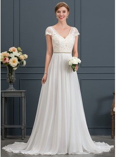 A-Line/Princess V-neck Sweep Train Chiffon Wedding Dress With Beading