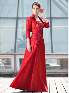 A-Line/Princess One-Shoulder Floor-Length Taffeta Mother of the Bride Dress With Ruffle Lace Sequins