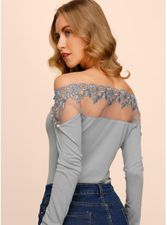 Long Sleeves Polyester Off the Shoulder Knit Blouses