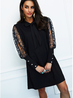 Solid Shift Butterfly Collar Long Sleeves Midi Elegant Little Black Party Dresses