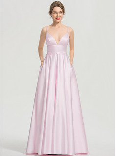 V-neck Floor-Length Satin Prom Dresses With Pockets