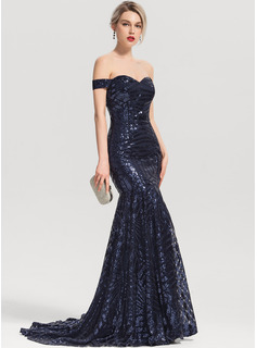 Trumpet/Mermaid Off-the-Shoulder Sweep Train Sequined Evening Dress