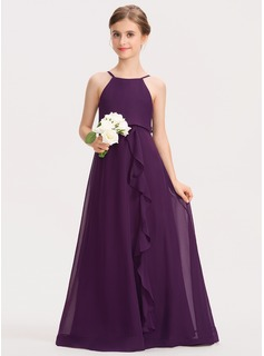 A-Line Scoop Neck Floor-Length Chiffon Junior Bridesmaid Dress With Bow(s) Cascading Ruffles