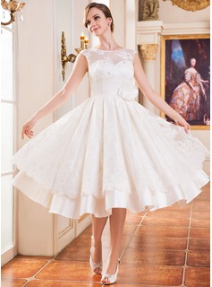 A-Line/Princess Scoop Neck Tea-Length Satin Lace Wedding Dress With Beading Flower(s) Sequins