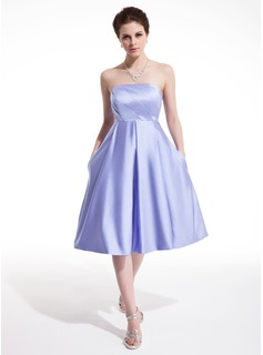 Empire Strapless Knee-Length Satin Homecoming Dress With Ruffle