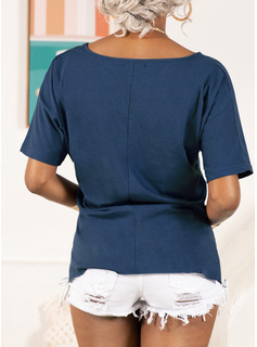Regular Cotton Polyester V-Neck Figure Print Fitted Blouses