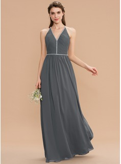 A-Line V-neck Floor-Length Chiffon Bridesmaid Dress With Ruffle Beading