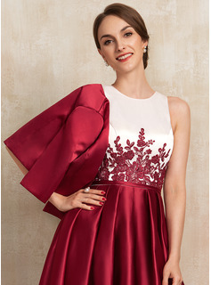 A-Line Scoop Neck Asymmetrical Satin Lace Cocktail Dress With Ruffle Sequins Pockets
