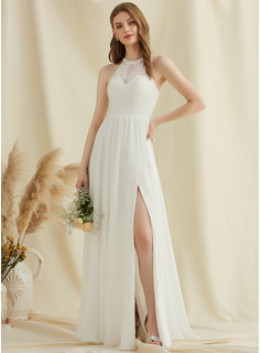 Scoop Neck Floor-Length Chiffon Lace Wedding Dress With Split Front