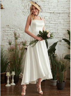 A-Line Square Neckline Asymmetrical Wedding Dress