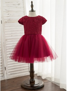 A-Line Knee-length Flower Girl Dress - Satin/Tulle/Lace Short Sleeves Scoop Neck With Bow(s)