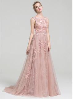 Scoop Neck Court Train Tulle Lace Prom Dresses