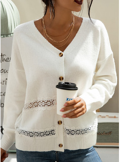Solid Polyester Cotton V-neck Pullovers Sweaters