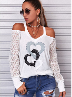 Regular Fitted Lace Print Heart Casual Long Sleeves