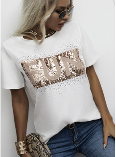 Regular Fitted Figure Print Sequins Casual Short Sleeves