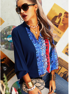 Regular Print Button Up Casual Long Sleeves