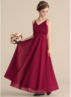 V-neck Floor-Length Chiffon Junior Bridesmaid Dress