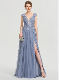 A-Line V-neck Floor-Length Tulle Evening Dress With Sequins Split Front